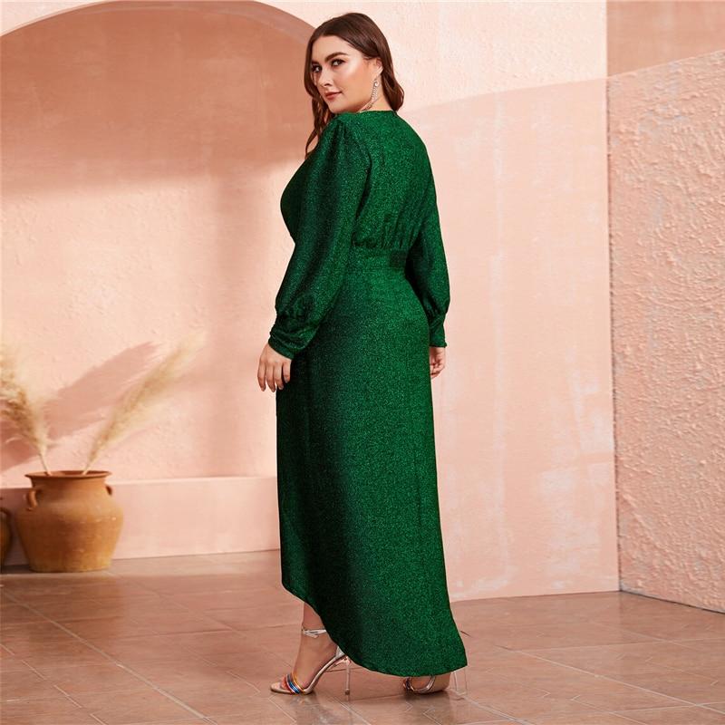 Women's Plus Size Green Glitter Maxi Dress