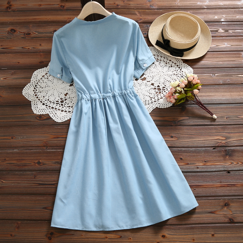 Women's Rabbit Embroidery Blue Cotton Dress