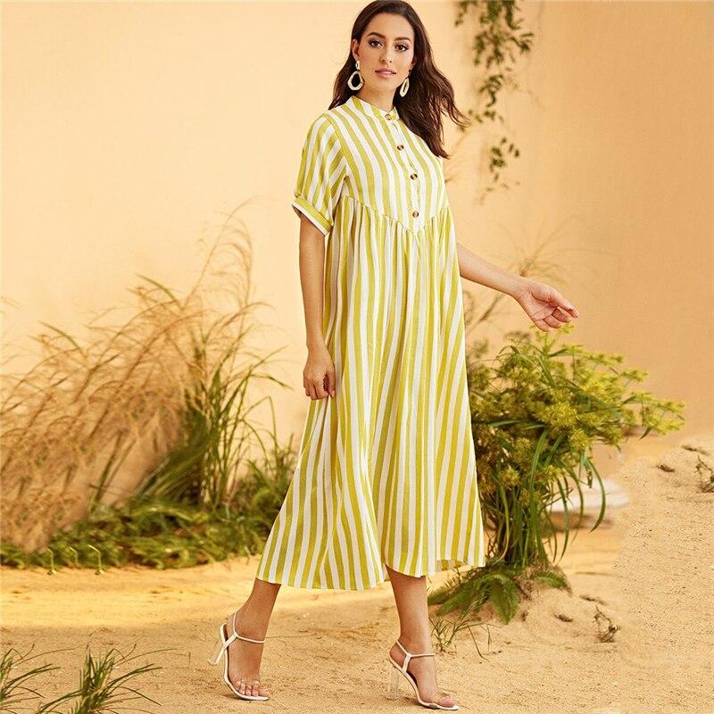 Women's Yellow Striped Maxi Dress
