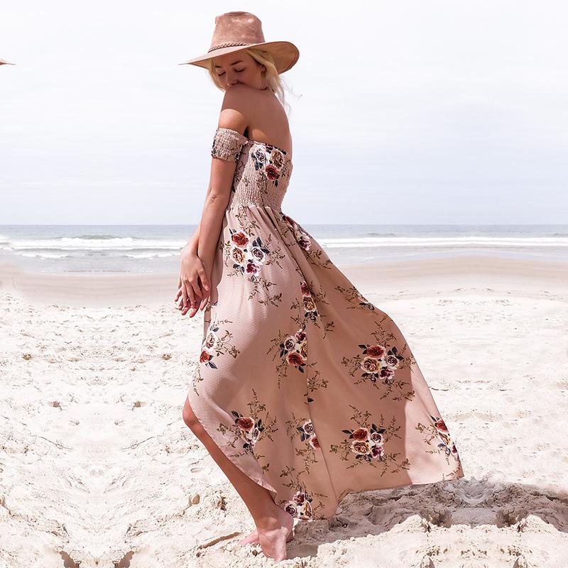 Women's Bohemian Floral Printed Off Shoulder Dress