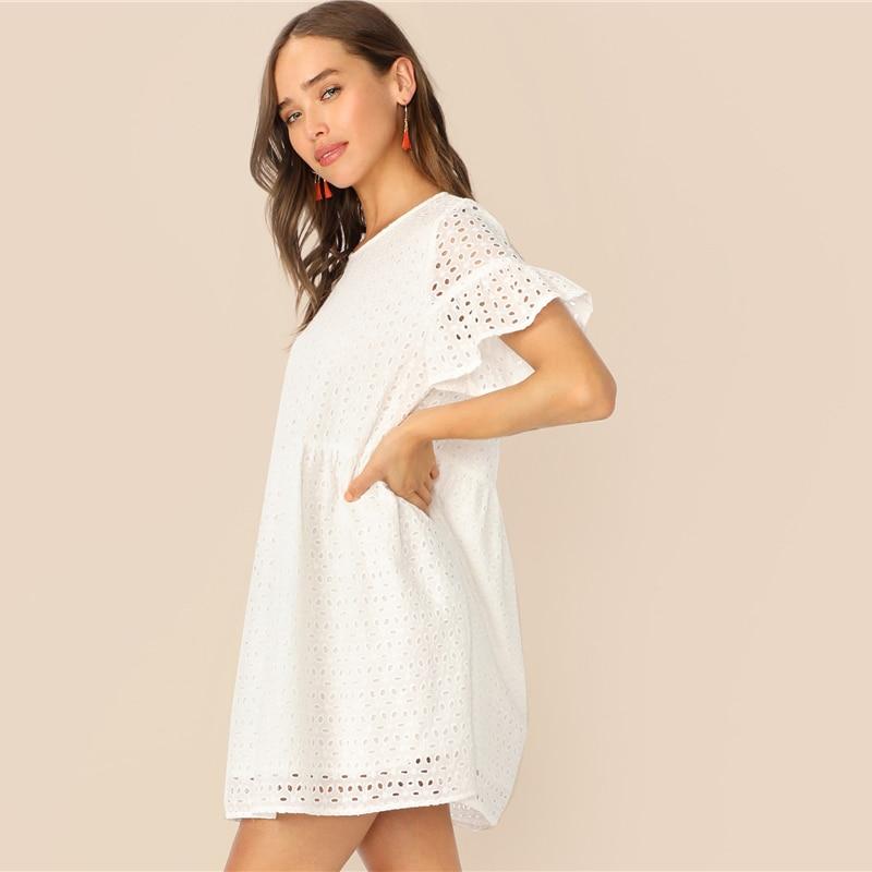 Women's Boho Style White Mini Dress